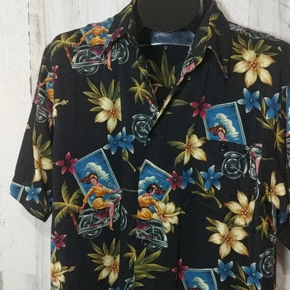 Marc Edwards Other - MARC EDWARDS Motorcycle Pin-up Tropical Shirt Lg